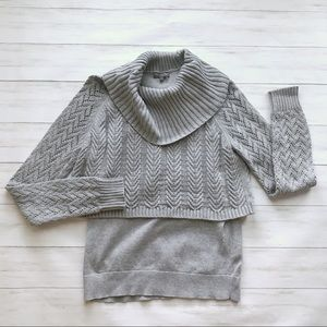 Vince Camuto Double Layer Turtleneck Sweater Sz S
